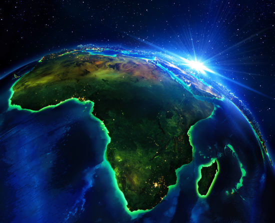 land area in Africa, the night